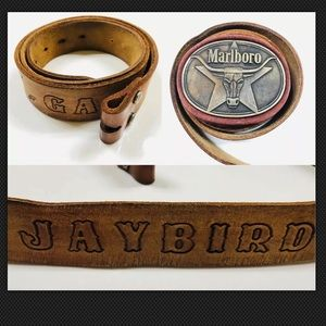 '87 Marlboro Bull Brass Buckle Leather Belt Vtg